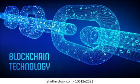 Block chain. Crypto currency. Blockchain concept. 3D wireframe chain with digital code. Editable cryptocurrency template. Stock vector illustration.