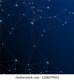 Block chain global network technology concept. Network nodes plexus dark blue background.