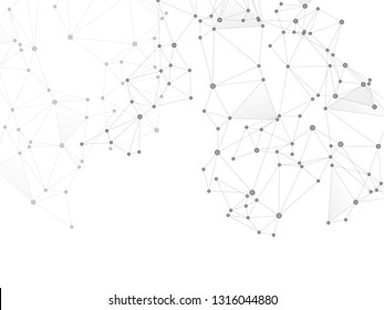 Block chain global network technology concept. Network nodes greyscale plexus background. Information analytics graphics. Fractal hub nodes connected by lines. Global data exchange blockchain vector.