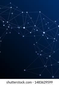 Block chain global network technology concept. Network nodes plexus dark blue background. Interlinkes nodes cells random grid. Global data exchange blockchain vector. Nanotechnology backdrop.