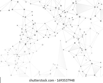 Block chain global network technology concept. Network nodes greyscale plexus background. Global data exchange blockchain vector. Chemical formula abstraction. Dots nodes points lines particles.