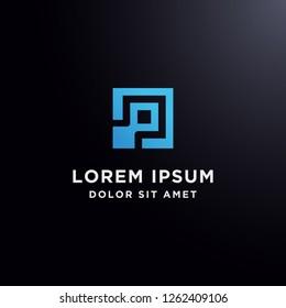 Block chain letter C logo vector, letter P abstract technology logo vector