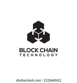 Block chain logo design. Crypto currency mining icon. Bitcoin service.