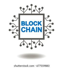 Block Chain Microchip Vector Icon. Blockchain Micro Circuit Illustration.