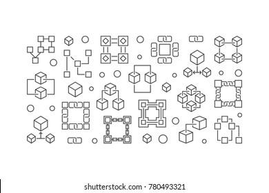 Block chain technology horizontal banner. Vector blockchain illustration in outline style