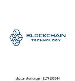 Block chain technology logo design. Digital crypto currency mining icon. Bitcoin service.