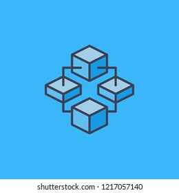 Block Chain vector cryptocurrency concept modern icon or logo element on blue background