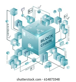 Block chain vector illustration with connected Crystal block on white background. Block chain have Miner of transaction.