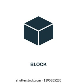 Block icon. Monochrome style design from blockchain collection. UX and UI. Pixel perfect block icon. For web design, apps, software, printing usage.