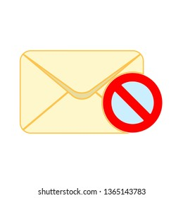Block Mail vector icon. E-mail spam icon, Envelope illustration, message