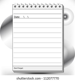 Block notes page lined in black and white shades