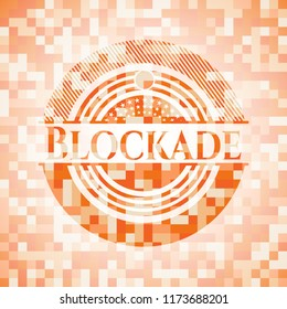 Blockade abstract emblem, orange mosaic background