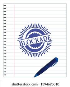 Blockade draw (pen strokes). Blue ink. Vector Illustration. Detailed.