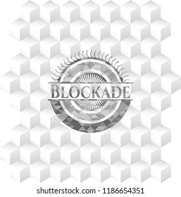 Blockade grey badge with geometric cube white background
