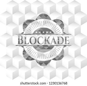 Blockade grey emblem with geometric cube white background