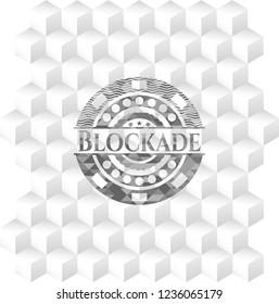 Blockade grey emblem. Vintage with geometric cube white background