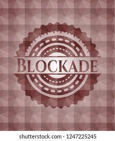 Blockade red geometric emblem. Seamless.