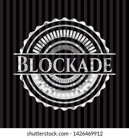 Blockade silver emblem or badge. Vector Illustration. Mosaic.