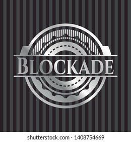 Blockade silvery emblem. Vector Illustration. Mosaic.