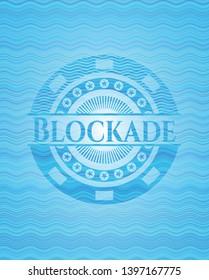 Blockade sky blue water emblem background. Vector Illustration. Detailed.