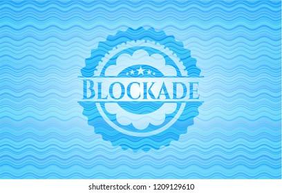 Blockade sky blue water wave badge background.