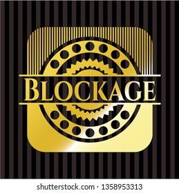 Blockage gold shiny badge