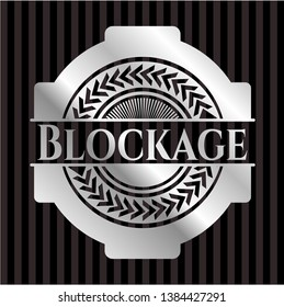 Blockage silver badge or emblem. Vector Illustration. Mosaic.