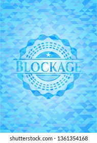 Blockage sky blue emblem with triangle mosaic background