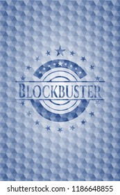 Blockbuster blue emblem or badge with abstract geometric pattern background.