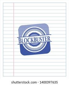 Blockbuster draw (pen strokes). Blue ink. Vector Illustration. Detailed.