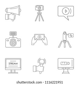 Blockbuster icons set. Outline set of 9 blockbuster vector icons for web isolated on white background