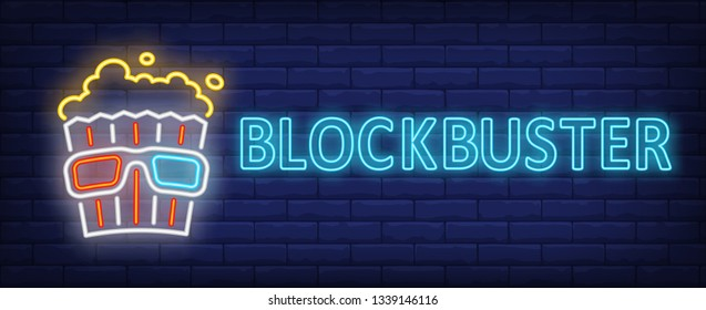 Blockbuster neon text with popcorn and 3d glasses. Cinema and entertainment concept, advertisement design. Night bright neon sign, colorful billboard, light banner. Vector illustration in neon style.