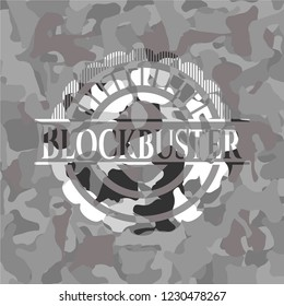 Blockbuster on grey camo texture