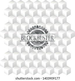 Blockbuster realistic grey emblem with geometric cube white background