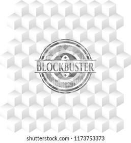 Blockbuster retro style grey emblem with geometric cube white background