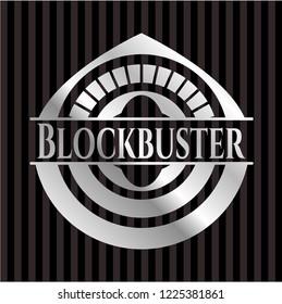 Blockbuster silvery emblem or badge
