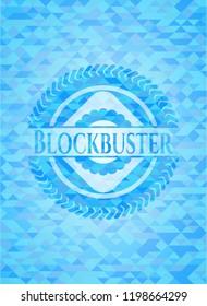 Blockbuster sky blue mosaic emblem