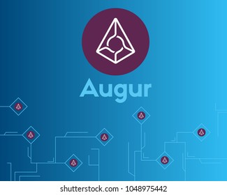 Blockchain augur cryptocurrency circuit concept background