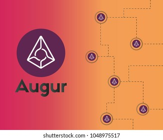 Blockchain augur cryptocurrency technology background