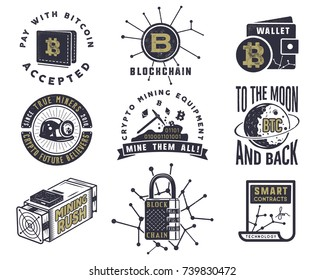 Blockchain, bitcoin, crypto currencies emblems and concepts set . Digital assets logos. Vintage han drawn monochrome design. Technology badges. Stock vector illustration isolated on white background.