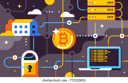 Blockchain and bitcoin mining technologies concept. New financial technology. Trendy flat vector illustration for banner, flyer, social media or print.