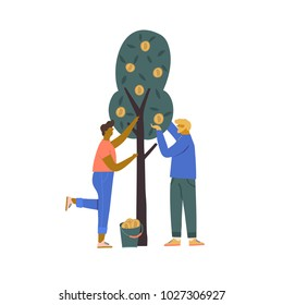 Blockchain btc concept illustration of a cartoon couple harvesting bitcoin from the tree. Funny flat characters in vector illustrated cryptocurrency mining.