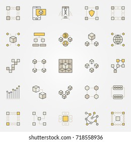 Blockchain colorful icons. Decentralization and transactions creative symbols. Digital currency technology concept signs