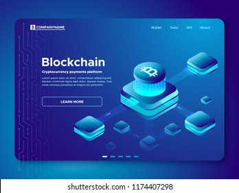 Blockchain composition. Cryptography anonymous cryptocurrency payments 3d concept platform composite currency analyst pay. Secure connection crypto electronic cash paying isometric vector illustration