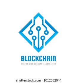 Blockchain - concept business logo template vector illustration. Future technology creative sign. Digital cryptocurrency icon. Computer electronic symbol. Graphic design element.
