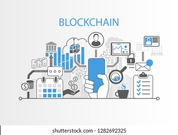 Blockchain concept with hand holding modern bezel free smart phone
