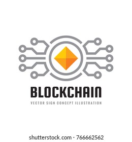 Blockchain - concept logo template vector illustration. Future technology creative sign. Digital cryptocurrency icon. Graphic design element.
