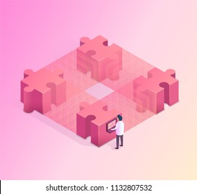 Blockchain concept with man who works on the computer. Isometric vector illustration.