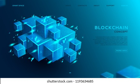 Blockchain concept web banner. 3d abstract digital blocks or cubes constructs database. Technology background with realistic blocks with program code. Landing page template. Vector illustration.