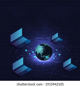 Blockchain concept.Isometric digital blocks connection vector illustration with connected globe and computer on blue background. Linked computer contain cryptography hash and transaction data.